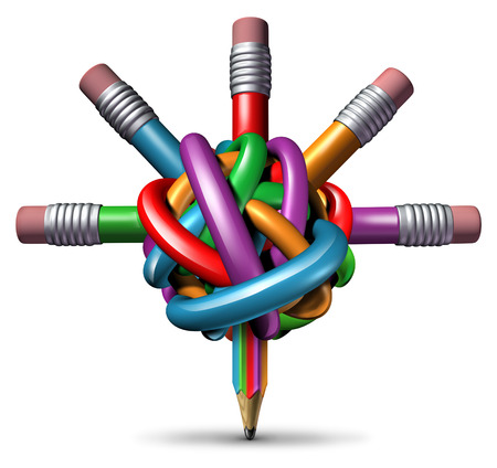 Creative management and leadership business concept as a group of tangled confused color pencils focused in a clear managed direction for team strategy resulting in imagination and innovation success