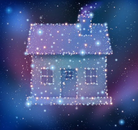 cluster house: Dream home or dreaming of a family first house as a cluster of bright stars and planets as a night sky constelation in the shape of a residential structure as a real estate concept of getting a loan for a mortgage or moving residence