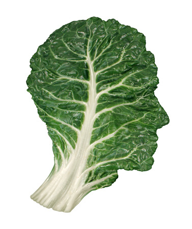 vegetarian cuisine: Human healthy diet concept with a dark green leafy kale or collard leaf in the shape of a head as a symbol of fresh vegetable eating and intelligent dieting using farm fresh natural organic produce from the local market