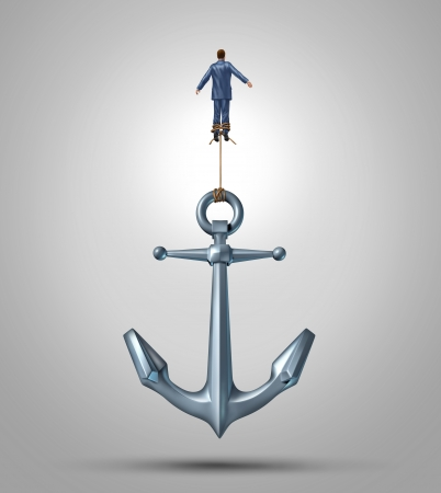 Overcoming limitations and adversity as a business concept of liberation confidence and courage to escape the obstacles of life as a businessman rising up lifting a heavy anchor achieving success with the power of belief