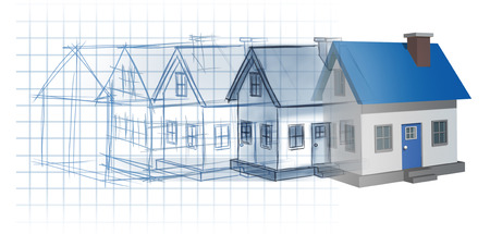 Residential development construction design and planning concept as a preliminary blueprint drawing sketch evolving to a finished built home as a housing industry symbol of architecture inspiration