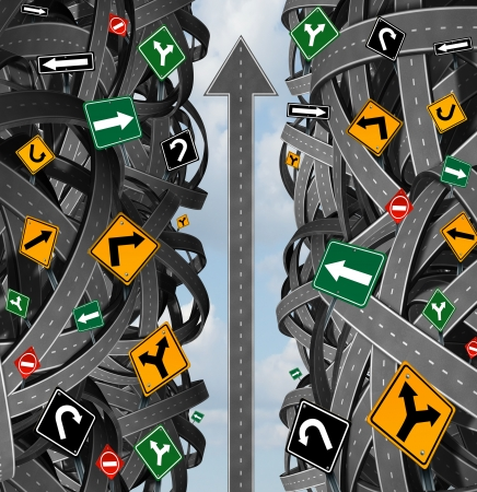 complexity: Success focus and clear strategy for solutions in business leadership with a straight upward path to choosing the right strategic plan with confusing traffic signs cutting through a maze of highways