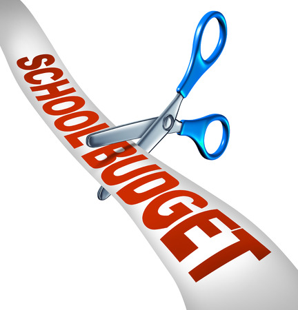 taxes budgeting: School budget cuts symbol for reducing budgeted education expenditures by slashing music and arts programs and eliminating financial surplus represented by student scissors cutting a receipt like ribbon as an icon of teaching cutbacks
