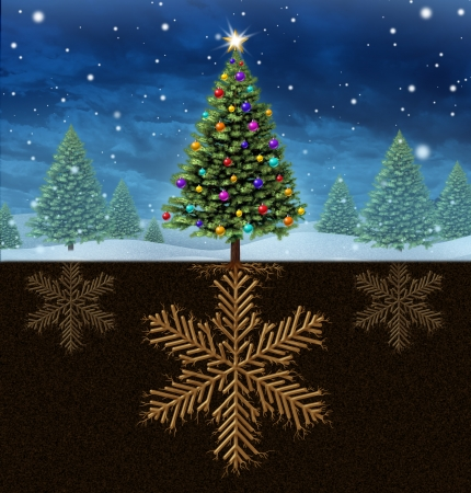 Christmas roots winter holiday concept with a decorated festive green pine tree with the roots in the shape of a snow flake with a group of other trees having a snowflake root as a symbol of celebration and a happy new year  photo
