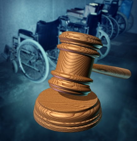security laws: Disability Rights and fighting in a court of law for equal opportunity to citizens that are handicapped or phisically challenged to access services as a group of wheelchairs and a wooden judges gavel protecting the vulnerable