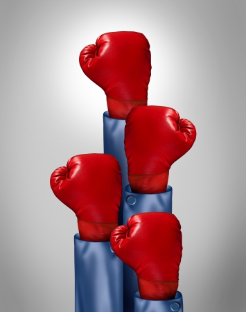 conquer adversity: Fight to the top business concept with a group of upward direction red boxing gloves from businessmen competing for success as a symbol of competitive group leadership with one glove emerging as the leader of the pack  Stock Photo