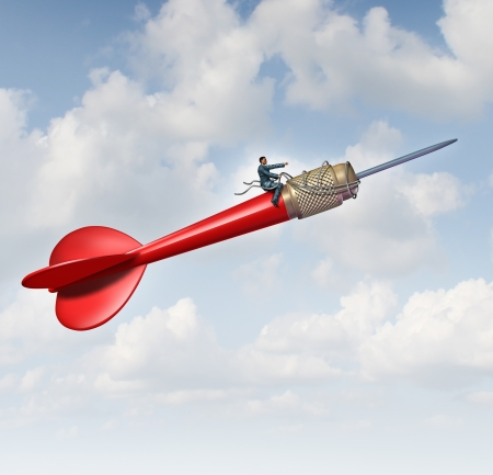 Goal leadership and focused management business concept with a businessman sitting on a flying giant red dart guiding and steering the direction using a harness to reech the planned target to career and company success  Reklamní fotografie
