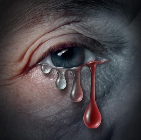 riesgo quimico: El aumento de peligros depresi�n como un problema de salud mental relacionados con la desesperaci�n y la enfermedad emocional basado en el dolor o el riesgo de ansiedad desequilibrio qu�mico en un primer plano de un ojo humano llorando una l�grima que transforma gradualy en sangre