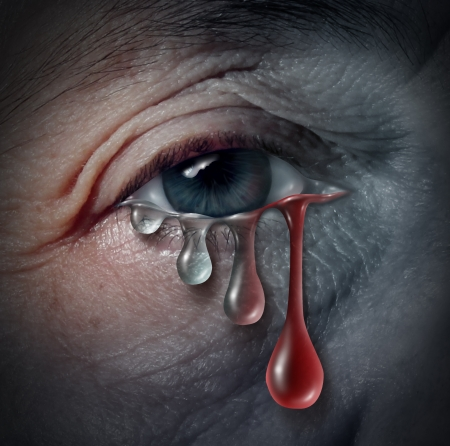 grieving: Increasing depression dangers as a mental health issue related to despair and emotional illness based on grief or chemical imbalance anxiety risk in a close up of a human eye crying a tear drop that gradualy transforms into blood