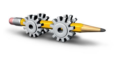 La innovación industrial y el concepto de la creatividad estratégica con un lápiz amarillo tridimensional de cuatro engranajes o ruedas dentadas Foto de archivo