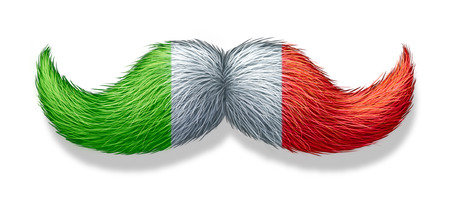 masculin: Italian mustache symbol with the flag of Italy as an icon of a European macho male culture
