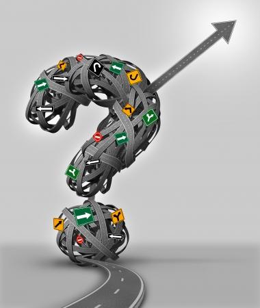 incertezza: Incertezza concetto di business Solution con un gruppo intricato di confondere i segni di taglio attraverso un labirinto di strade a forma di punto interrogativo come singola strada a forma di freccia trova una via d'uscita verso il successo