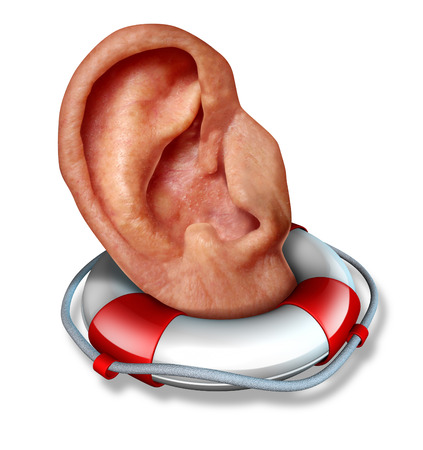 auditory: Saving your hearing health care concept with a human ear in a lifesaver or life belt as a lifeline icon to  protect the function of  to hear sounds and noise as a medical symbol and a social icon to communicate listen and pay attention