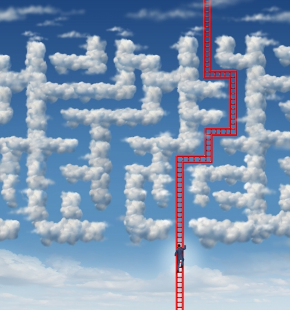 Aspiration leadership solutions with a businessman climbing a red ladder that has found an answer to a cloud shaped labyrinth or maze as a symbol of career success and achieving your goals through planning and strategy