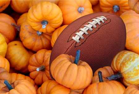 harvest: Thanksgiving Day football and autumn sports during harvest time with a holiday tournament ball in a pile of orange pumpkins as a concept for living a healthy lifestyle diet and exercise or fitness  Stock Photo