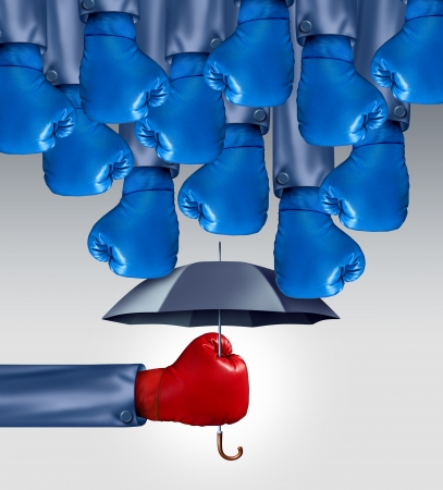 Avoid Competition business concept as a group of blue boxing gloves raining down on a red glove boxer protected by an umbrella as an icon of competitive advantage leadership avoiding risk adversity