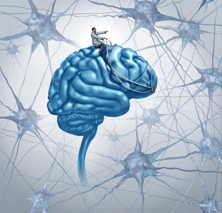 cellule nervose: Cervello concetto di ricerca medica con un medico scientifica su uno sterzo cervello con una cintura la direzione attraverso un labirinto di tre neuroni tridimensionali come icona di trovare una cura con una diagnosi corretta per l'autismo e la malattia alzeimers