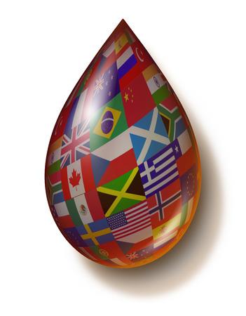 commodities: Industria global de petr�leo y sus derivados icono con banderas internacionales en la forma de una gota de l�quido de combustible f�sil como un concepto de negocio de la energ�a de gasolina y un s�mbolo de los productos b�sicos de los recursos naturales de todo el mundo