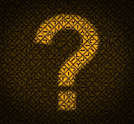 Begeleiding vragen business concept als een groep van gele verkeersborden met pijlen wijzen in verschillende richtingen en lichte vorm van een vraagteken verhelderend de bewegwijzering als een symbool van verwarring beslissingen Stockfoto