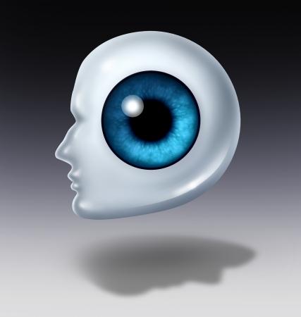 eye ball: Enfoque humano y el concepto de inspecci�n de negocios con un globo ocular en forma de una cabeza como un s�mbolo de b�squeda de la estrategia de carrera y la planificaci�n visionaria con una sombra de la cara o un icono de la atenci�n sanitaria para optometr�a y m�dico oftalm�logo Foto de archivo