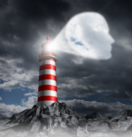 guiding light: Human Guidance Direction business concept with a lighthouse beacon tower shinning a guiding light shaped as a key head on a stormy dark background sky as a symbol of vision and focusing on a planned strategy  Stock Photo