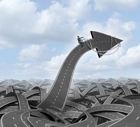 economia aziendale: Leadership direzione concetto di attivit� di orientamento con un gruppo di strade e autostrade aggrovigliati e un uomo d'affari di guida e di guidare la direzione di una strada di freccia utilizzando un cablaggio verso un obiettivo pianificato per la carriera e il successo aziendale