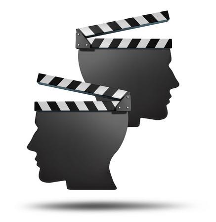 映画パートナーシップとフィルム グループ契約コンセプトの映画館の生産または対照的なクリエイティブな方向性とビジョンのエンターテイメント