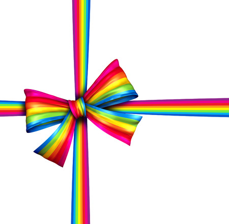 Rainbow gift ribbon bow  as a silk present with  wrapping tape of bright spectrum colors as an award or charity donation on Christmas or winter holiday new year celebration design element isolated on a white background  photo