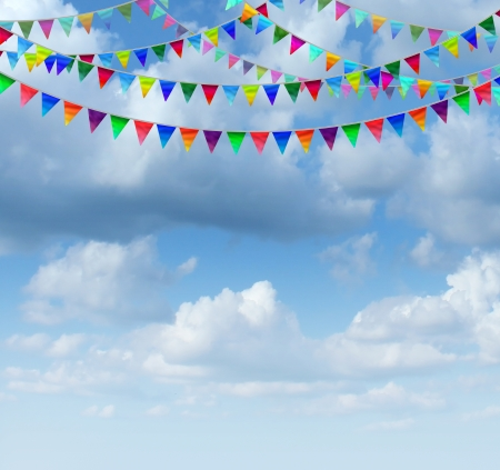 bunting: Bunting flags on a blue sky as a group of hanging an advertising and marketing icon of happy celebration for a birthday or special event as a design element for communication with copy space  Stock Photo