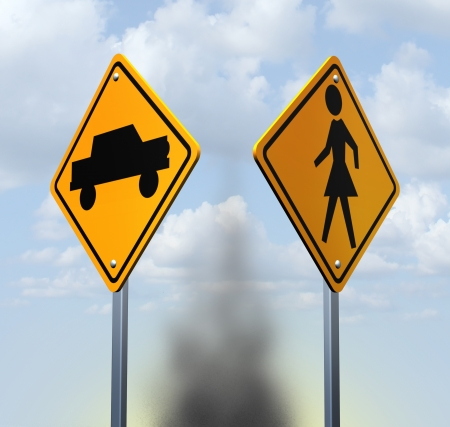 personal injury: Car accident concept with two yellow warning road signs with a car and child icon at a street crossing resulting in a dangerous collision as a symbol of auto insurance and personal injury crash near a school or street corner