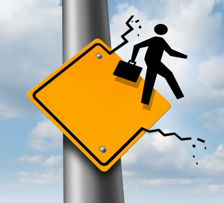 Career promotion business concept as a metaphor for employment aspirations as an icon of a businessman breaking out of a yellow traffic road sign as an achievement symbol of job success or leadership