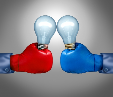 entrepreneurial: Creative competition as a business concept with two businessmen fighting with red and blue boxing gloves holding a light bulb as a metaphor for the fight for ideas innovation and creativity with the challenges of danger and risk  Stock Photo