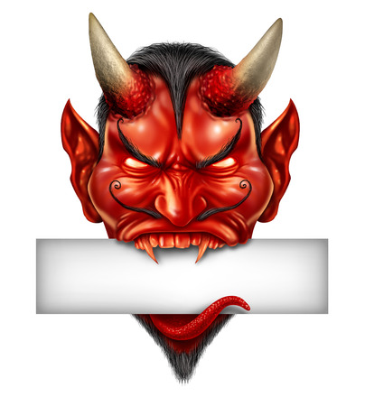 hot announcement: Devil head biting into a blank white sign with fangs as a demon halloween monster character with a devilish evil grin with spooky expression as a fictional fire red skin horned beast creature on a white background  Stock Photo