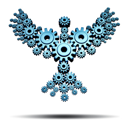 phoenix bird: Economic freedom and business success concept with a group of connected gears and cog wheels in the shape of wings on a flying bird working together as a powerful network to achieve great heights in innovation with team strategy