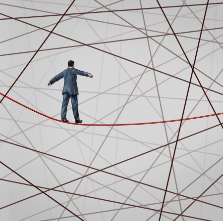 adversity: Focused On Strategy with a businessman as a high wire tight rope walker confronting adversity with a web of confused tangled group of wires trying to distract from the planned business goal for success