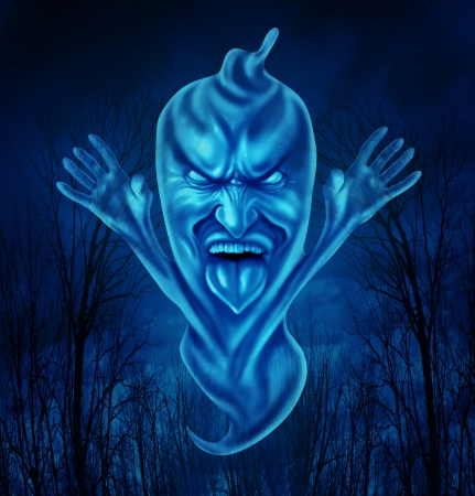 deceased: Ghost character in a creepy haunted forest as a single translucent glowing phantom and demon floating in the air as an icon and concept of Halloween celebrations