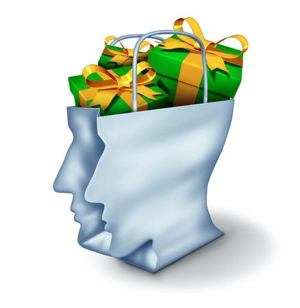 generosity: Ideas de regalos y compra concepto consumidor guía como una bolsa de compras en la forma de una cabeza humana con regalos en el interior como símbolo de decisiones comprador inteligente para fiestas cumpleaños y la Navidad que da sobre un fondo blanco