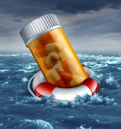 Health care plan risk concept with a prescription pill bottle in a life belt or lifesaver floating in the ocean during a storm as a medical metaphor for patient insurance protection dangers and the drowning costs