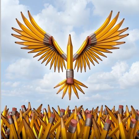 Neem vlucht creatief succes concept met een groep van drie dimensionale gele potloden in de vorm van een vogel opstijgen en ontsnappen verwarring naar vrijheid als een symbool van onderwijsprogramma's en creativiteit in het bedrijfsleven innovatie Stockfoto