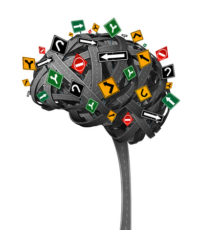 Brain direction neurology concept for dementia with tangled roads in the shape of the human thinking organ with confusing street traffic signs as a health symbol and metaphor for memory loss and confusion on a white backhground