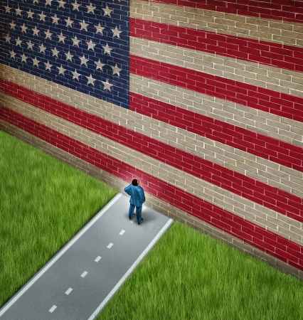 gridlock: Closed America  and United States government shutdown concept as a metaphor for US closure or strict immigration policy as a businessman on a road blocked  by giant brick wall with a painted flag blocking entrance as a trade or business barrier  Stock Photo