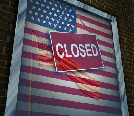 closed: Closed United States of America concept as a metaphor for US government shutdown or failed American business and strict immigration policy as a store window sign with a reflection of a flag on the glass