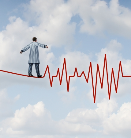 safely: Doctor diagnosis danger and risk as a medical concept and health care metaphor with a physician in a lab coat walking on a tightrope or high wire shaped as an ECG pulse trace as a symbol of  monitoring patient health safely and carefully