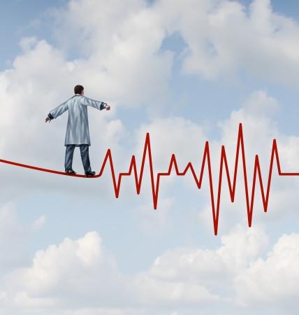 lab coat: Medico diagnosi pericolo e rischio come concetto medico e la metafora di assistenza sanitaria con un medico in un laboratorio cappotto camminando su una fune o filo alto a forma di un tracciato ECG di impulso, come simbolo di monitorare la salute del paziente in modo sicuro e con attenzione