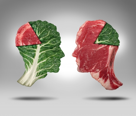 balanced diet: Food balance and health related eating choices with a human head shape green vegetable kale leaf with a piece of meat as a pie chart facing a red steak with the opposite situation as a lifestyle for nutritional decisions and diet or dieting dilemma