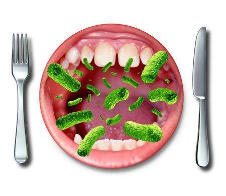 건강: 심각한 건강 문제가 발생 썩은 냄새가 나는 오염 된 재료로 아프기의 위험으로 dangerouse 박테리아 오픈 인간의 입으로 모양의 저녁 식사를 접시에 식중