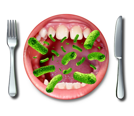 Food poisoning illness health concept with a dinner plate shaped as an open human mouth with dangerouse bacteria as a risk of getting sick from rancid contaminated ingredients resulting in severe health problems  版權商用圖片
