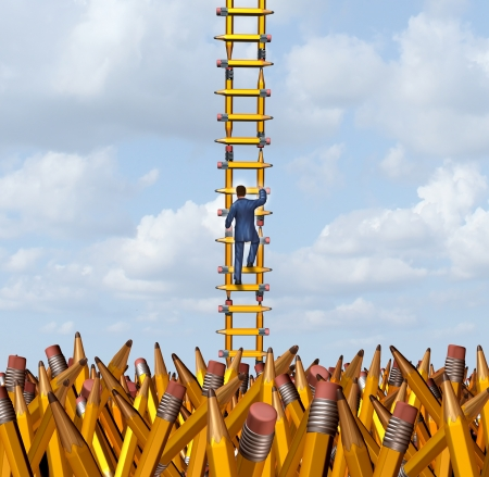 Imagination freedom with a creative businessman climbing out of a chaotic pencil landscape using a ladder made of yellow pencils as a business concept and metaphor for creativity freedom and innovative solutions for success escaping a confusing situation