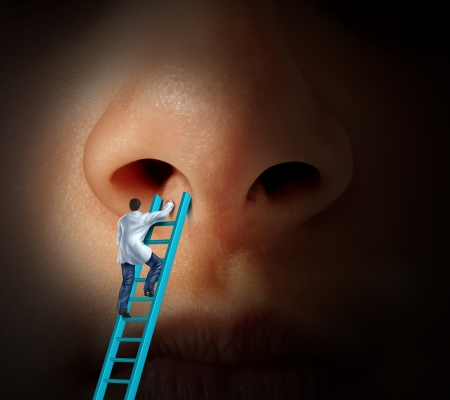 nose: Medical nose care concept with a doctor climbing a ladder to examin if rhinoplasty or cosmetic plastic surgery is needed and for a diagnosis on a patient that may have breathing problems due to infection or nasal or sinus disease