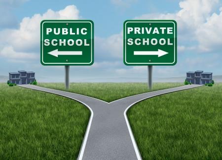Publieke en private schoolkeuze onderwijs concept als een kruispunt straat met twee tegengestelde weg of snelweg borden leidt tot gebouwen als een symbool van de voors en tegens van het opleiden van kinderen in een door de overheid gefinancierde of privaat gefinancierde instelling voor leren Stockfoto